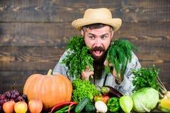 Lush healthy beard. bearded mature farmer. harvest festival. man chef with rich autumn crop. organic and natural food. Happy halloween. seasonal vitamin food stock image