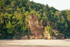 Lush jungle and big cliff near sand beach Stock Photos