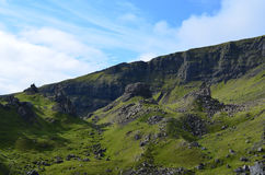 Lush Landscape at Old Man of Storr. Lush green landscape with rocks in Scotland Royalty Free Stock Photography