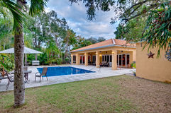 Lush landscaped backyard. View of modern home backyard with lush landscaping and swimming pool Stock Photos