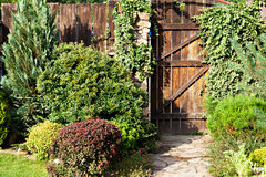 Lush landscaped garden Stock Photo