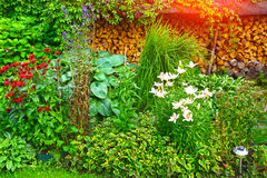 Lush landscaped garden with flowerbed Stock Photo
