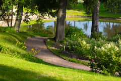 Lush landscaped park Stock Photography