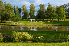 Lush landscaped park Stock Image