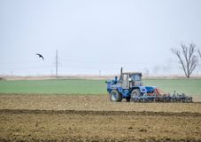 Lush and loosen the soil on the field before sowing. The tractor plows a field with a plow.  Stock Images