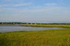 Lush Marsh Grass Bordering Duxbury Bay. Duxbury Bay in Southeastern Massachusetts at low tide Stock Photography