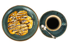 Lush pancakes with chocolate Royalty Free Stock Images