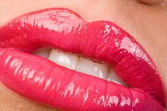 Lush Pink Lipstick. Closeup of Mouth with Glossy Pink Lipstick Royalty Free Stock Images