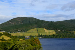 Lush Rolling Green Hills of the Scottish Highlands Over Loch Nes Royalty Free Stock Image