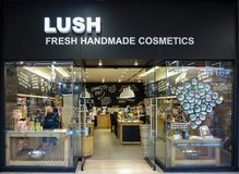 Lush store. Detail of the Lush store in Alberta, Canada. Lush is a cosmetics retailer founded at 1995 in Poole, UK Stock Photos