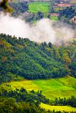 Lush Tibetan landscape. Scenic view of lush, green Tibetan landscape with low-level cloud in background Stock Photo