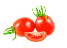Lush  tomatoes . Lush cutting tomatoes . Isolated over white Stock Photos