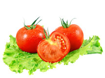 Lush tomatos with green leafs. Isolated. Over white Stock Image
