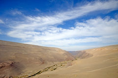 Lush valley in the Atacama desert, Chile. Tiny lush valley with farms in the Atacama desert which contrasts with the expanse of sand of the desert, Chile stock image