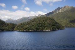 Lush vegetation on the slopes of Dusky Sound Stock Images