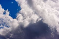 Lush white cumulus clouds swim across the blue sky stock images