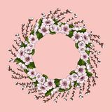 A lush wreath of pink cherry flowers and bright green cherry leaves along with young willow branches.нета royalty free illustration