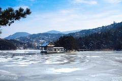 Lushan lake in winter stock photography
