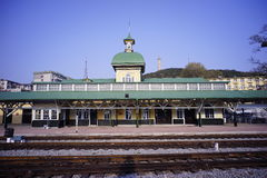 Lushun railway station built by russian. Lushun railway station Dalian Liaoning China Russian style Royalty Free Stock Photo