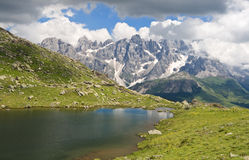Lusia Lake and Pale San Martino mount Stock Photos