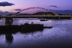Lusitania bridge at dusk in Merida Royalty Free Stock Images