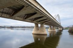The Lusitania Bridge  in M�rida. The Lusitania Bridge designed by Santiago Calatrava over the Guadiana river in Merida, Extremadura (Spain Royalty Free Stock Photography