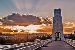On Lusitania Bridge in Merida Stock Images