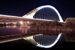 Lusitania bridge over Guadiana River at night. Merida, Spain Royalty Free Stock Images