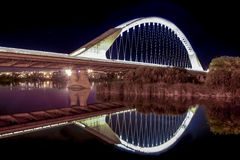 Lusitania bridge over Guadiana River at night Stock Image