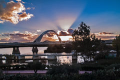 Lusitania bridge on sunset in Merida Royalty Free Stock Images