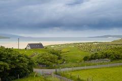 Luskentyre, wyspa Harris, Zewnętrzny Hebrides, Szkocja Ja jest sławny dla pięknej białej piaskowatej plaży która biega dla mil i obraz royalty free
