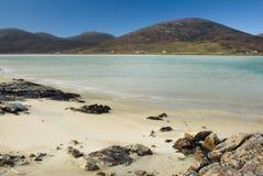 在Luskentyre,哈里斯,外面Hebrides,苏格兰小岛的海滩  免版税图库摄影
