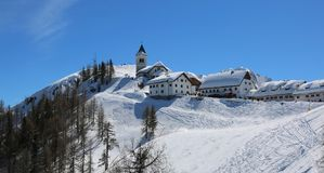 Free Lussari Mountain Tarvisio, UD, Italy - April 1, 2018: Fabulousness Panorama Of The Ancient Sanctuary Royalty Free Stock Photography - 114416367