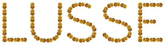 Lusse i text som gjordes av verkliga gula saffranbullar, kallade lussebulle eller lussekatt Ferien Lucia kallas också Lusse i Sve royaltyfri foto