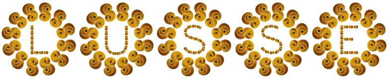 LUSSE in text of real lussebullar, made of saffron. vector illustration
