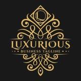 Lussuosa è una lettera classica alla moda la L logo con il bello ornamento illustrazione vettoriale
