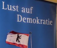 Lust auf Demokratie, Desire for democracy. Berlin, Germany - May 5, 2018: Banner with text `Lust auf Demokratie` German for `Desire for democracy` and flag of Royalty Free Stock Photography