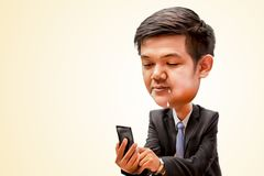 Lust man looking smart phone. Lust man holding smart phone and looking to screen, business man smiling and touching of smart phone, digital painting picture or Royalty Free Stock Image