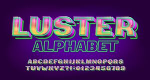 Free Luster Alphabet Font. Neon Light 3d Letters And Numbers. Stock Image - 202053841