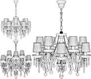 Luster Chandelier Vector Illustratie die op witte achtergrond wordt ge?soleerd= royalty-vrije stock fotografie