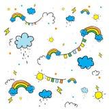 lustig Skizzieren der Sonne, der Wolke und des Regenbogens Musterhintergrundabstr. vektor abbildung