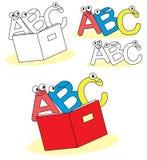 Lustige ABC-Karikaturzeichen Stockfoto
