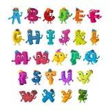 Lustige Alphabet-Charaktere ABCs Lebendige Buchstaben mit Hutdesign-Farbsatz Lizenzfreie Stockbilder