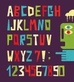 Lustige Alphabetbuchstaben mit Zahlen. Stockbilder