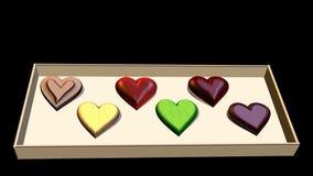 Lustige Animation des Valentinstags 3D Kasten Schokoladen in Form von Herzen und der Aufschrift: Ich liebe dich stock abbildung