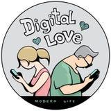 Lustige Aufkleber ` Digital-Liebe in modernes Leben ` Lizenzfreie Stockfotografie