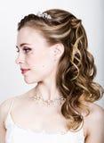 Lustige Aufstellung der schönen Braut, verschiedene Gefühle ausdrückend Schöne Braut mit Art und Weisehochzeitsfrisur Lustige Bra Lizenzfreies Stockbild