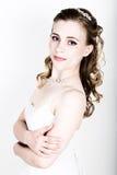 Lustige Aufstellung der schönen Braut, verschiedene Gefühle ausdrückend Schöne Braut mit Art und Weisehochzeitsfrisur Lustige Bra Lizenzfreie Stockfotos