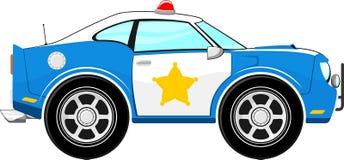 Lustige blaue Polizeiwagenkarikatur Stockbilder