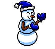 Lustige blaue Santa Hat Snowman lizenzfreie abbildung